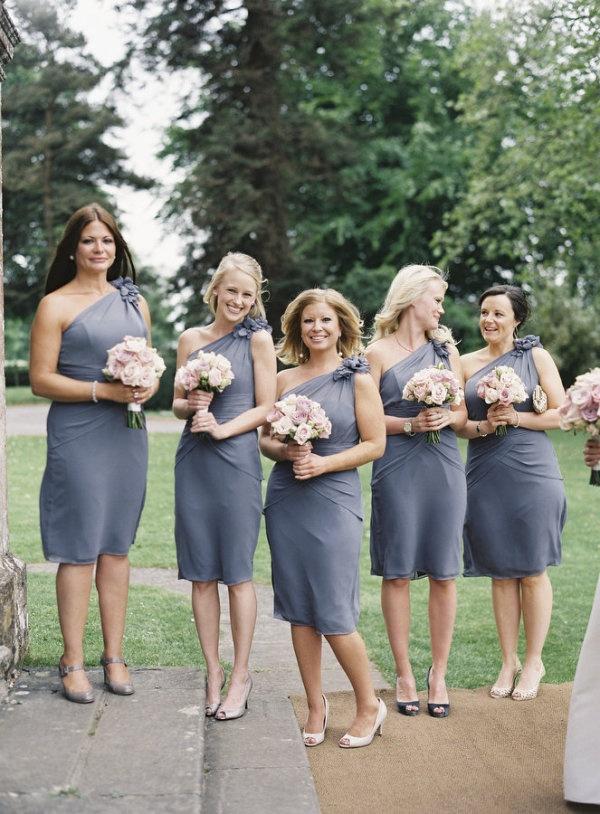 blue/grey bridesmaid dresses
