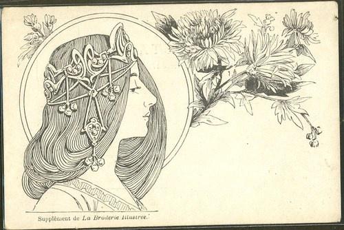 GP149 Art Nouveau Tête de Femme de Profil Bijoux Head Ornaments Illustrateur | eBay