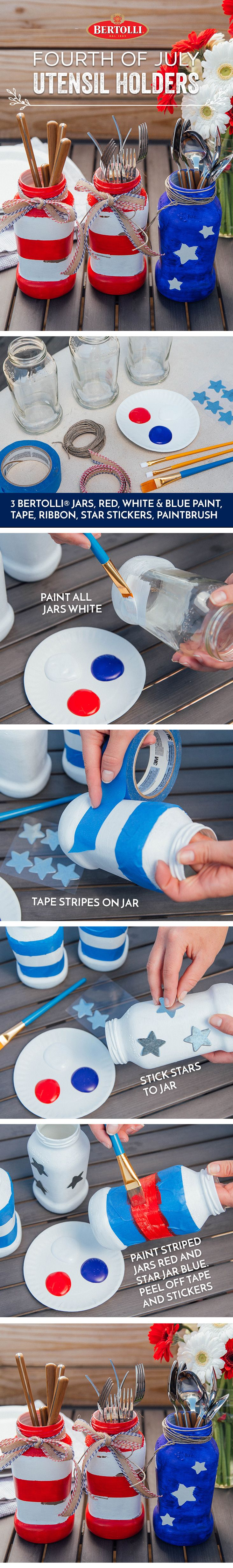 This Independence Day, we are repurposing our Bertolli pasta sauce jars into festive utensil holders. This simple stars-and-stripes DIY project adds a hint of color to your Fourth of July gathering.