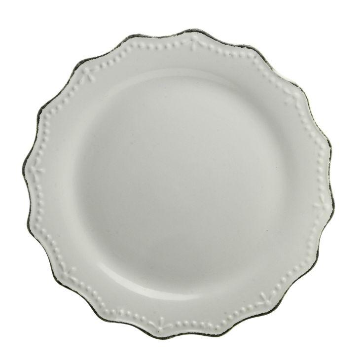 "10 Strawberry Street Oxford Cream Dinner Plate 11"" Set of 6 (Oxford Cream Dinner Plate 11"" Set of 6), Ivory (Stoneware, Solid)"