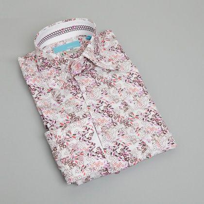 BRITISH INDIGO Alle producten Overhemden Met Motief OVERHEMD MET BLOEMENMOTIEF - WIT/PAARS