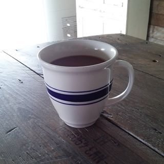Is it really Monday?...sigh!  Getting my caffine fix with a fresh cup of brew...in my grain sack stripe coffee mug.  I have 4 of them...compliments of... Goodwill! 😉  Enjoy today friends...even though it really is Monday, lol!  #coffee #grainsack #coffeemug #coffeemugs #goodwillfinds #farmhousestyle #farmhouse #countryliving #homesweetfarm #morninginthecountry #riseandshine #simpleliving #simplehome #simplelife #thriftedtreasures #simplepleasures #bugjunkie #beentheresalvagedthat #rustic…