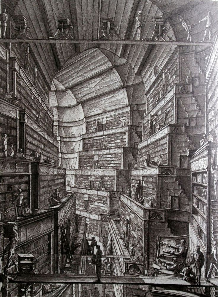 """Erik Desmazieres--etchings for an edition of Borges' """"Library of Babel."""""""