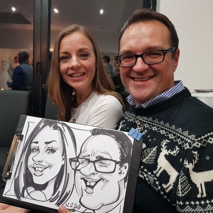Caricature at a party