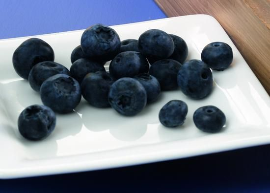 Platte kaas dessert met blauwe bosbessen Recept | Dr. Oetker