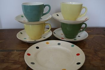 Gigi plate with Gigi saucers and Colour Glaze cups