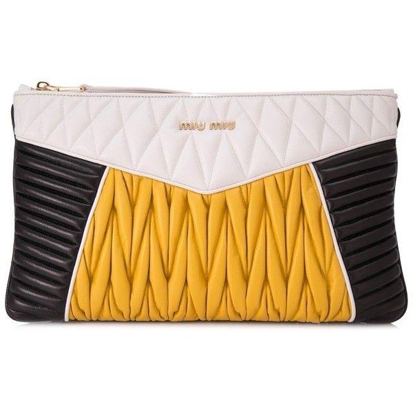Miu Miu Nappa Colour Miu Rider Clutch (3,375 PEN) ❤ liked on Polyvore featuring bags, handbags, clutches, black, miu miu, miu miu handbags, miu miu purse and nappa leather handbags