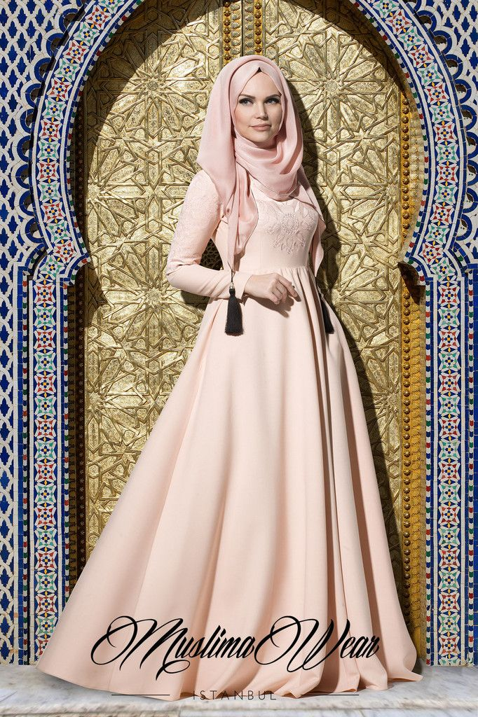 Muslima Wear Collection Maxi Dress in poudre color with silk embroidery on chest and sleeves Wide cut, fully lined skirt Slightly high waist Wrinkle-free breathable fabric