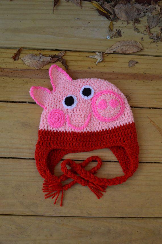 Peppa Pig Crochet Hat Por Capnhookcrochet En Etsy