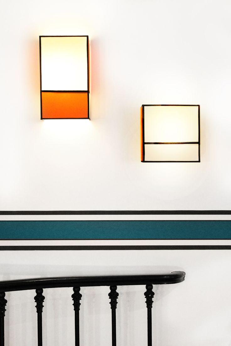 """Appliques """"Radieuse"""" grand et petit modèle, coloris orange, par Maison Sarah Lavoine"""