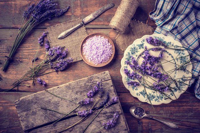 Lavender bath salt  by Grafvision photography on @creativemarket