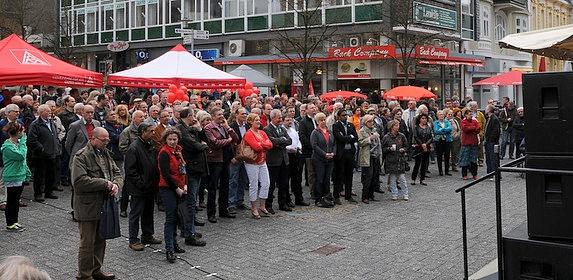 Michaela Engelmeier-Heite auf der Maikundgebung in Gummersbach (Bild: Oberberg-Aktuell)