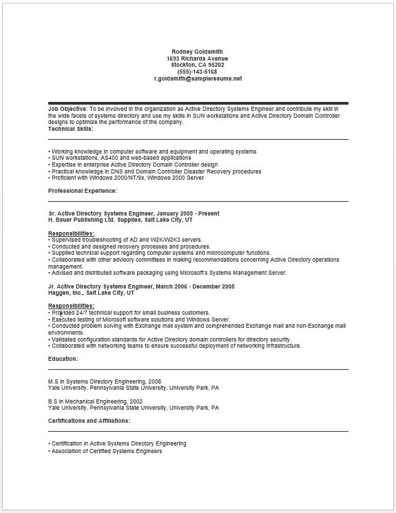 Active Directory Systems Engineer Resume resume sample Free