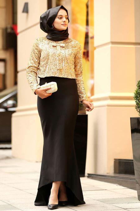 5d3e9c28f3d8e Nayla Collection - Pul Payetli Bluz / Etek Gold Tesettür Abiye Takım  18911GOLD
