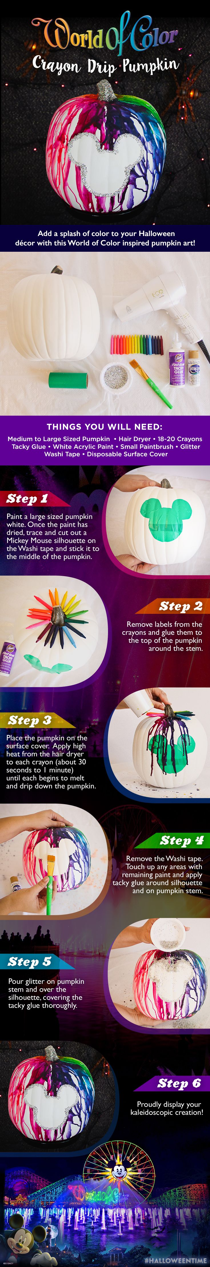 The world is a carousel of color, and now your Halloween pumpkin can be too with this DIY World of Color inspired pumpkin art!