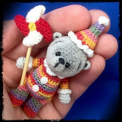 Beval - An OOAK Miniature Crochet Thread Artist Bear by Petite Pastimes