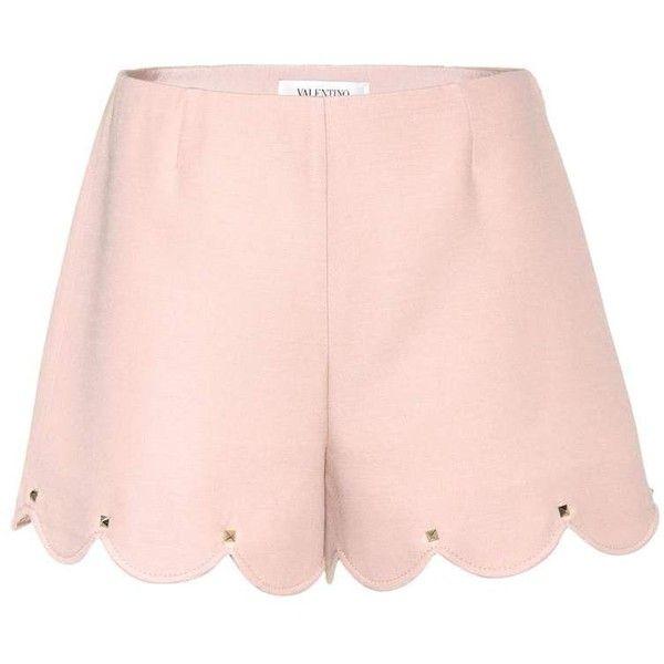 Valentino Wool and Silk Shorts (26 165 UAH) ❤ liked on Polyvore featuring shorts, pink, silk shorts, wool shorts and pink shorts