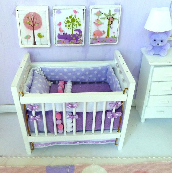 White crib or if you prefer baby bed. by Minidecorandmore on Etsy.  Dollhouse Miniatures Accessories.