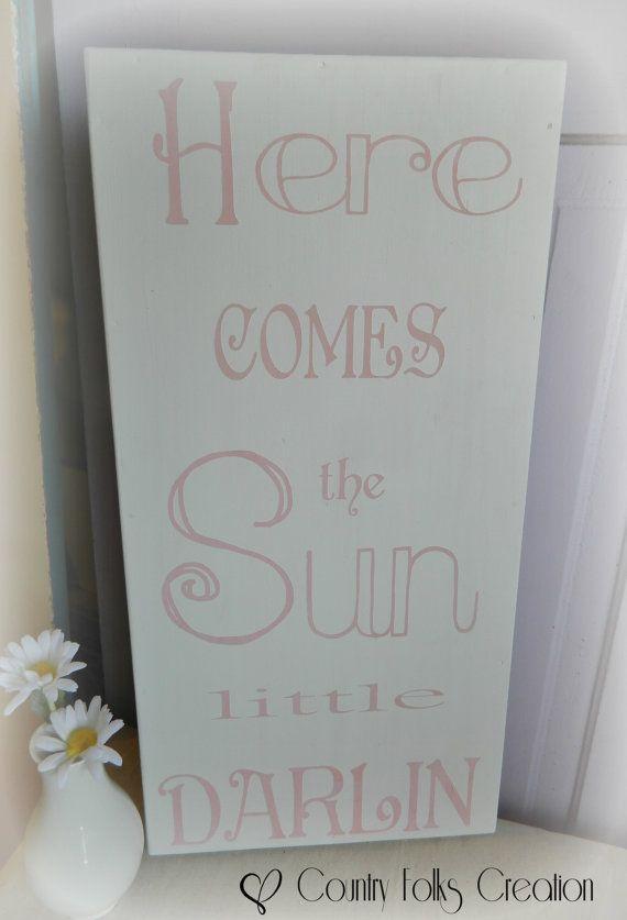 Here comes the Sun little darlin, Wood sign, Beatles lyrics, Shabby chic nursery wall decor, Nursery signs baby girls, baby shower gift on Etsy, $38.00