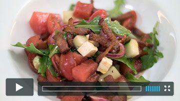 Watermelon Salad with Tomato and Bacon -  Insalata di Anguria
