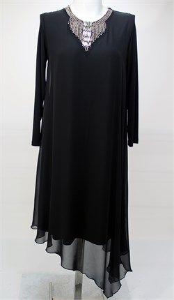 Simetri Kesim Kolye Detaylı şifon elbise