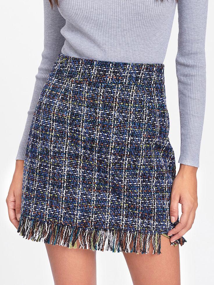 Shop Fringe Hem Side Zip Skirt online. SheIn offers Fringe Hem Side Zip Skirt & more to fit your fashionable needs.