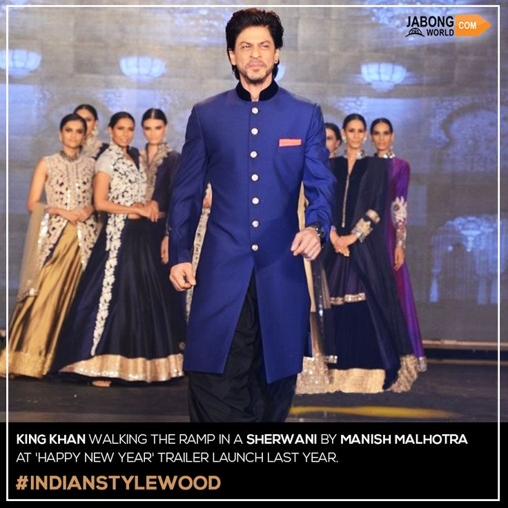 It's the #King himself, Shah Rukh Khan! Happy New Year #KingKhan #Sherwani Buy one for yourself, click here- http://www.jabongworld.com/men/indo-western-set.html?utm_source=ViralCurryOrganic&utm_medium=Pinterest&utm_campaign=IndoWestern-11-june2015