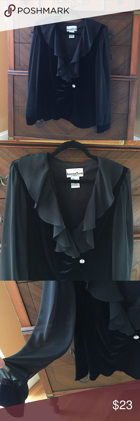 Sale ✨ Lovely velvet & sheer dressy jacket blouse Perfect for a wedding or the holidays - any celebration, or just a night out! Beautiful with a black or velvet skirt, and straight or flowy black pants... very lightly worn, silver/crystal button closure, sheer ruffle around neckline and sheer sleeves with velvet cuffs. Just lovely! Another Tyme Tops Blouses