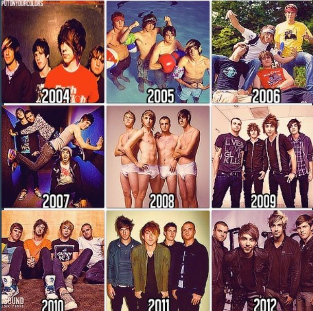 All Time Low through the years. Kinda glad jack brought the skunk hair back, for nostalgic reasons