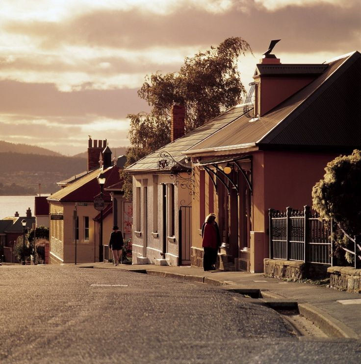 Hampdon Road, Battery Point. One of Australia's oldest villages, and unspoilt and lovely. We go drawing there.