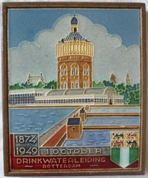 ≥ Westraven wandtegel uit 1949 van Drinkwaterleiding Rotterdam