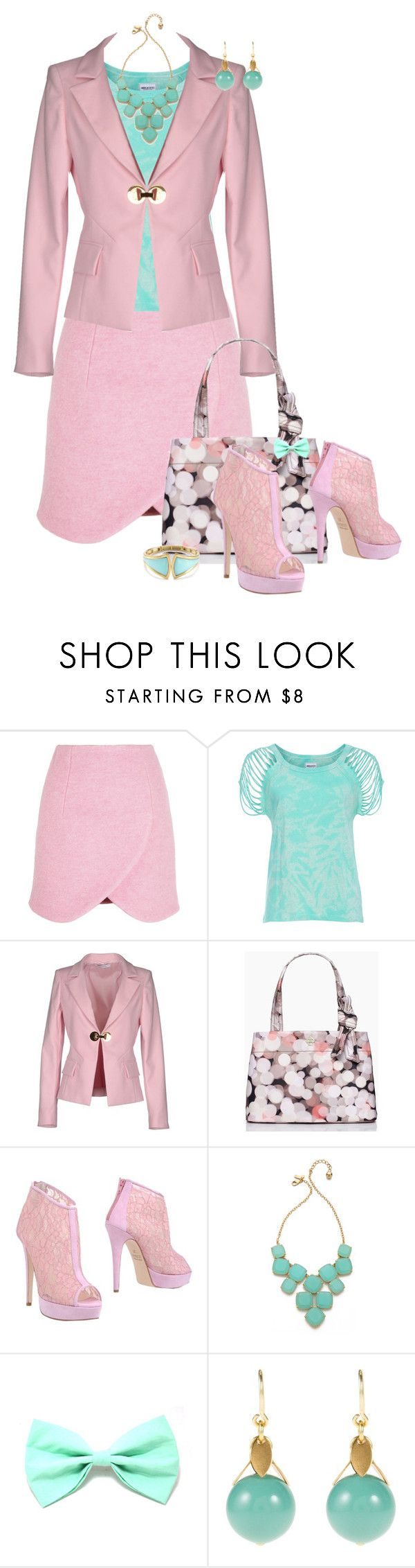 """""""Pink & Teal"""" by feelgood35 ❤ liked on Polyvore featuring Carven, American Retro, Versace, Kate Spade, Fiorangelo, TomShot, Elie Tahari, Pink, teal and turquoise"""