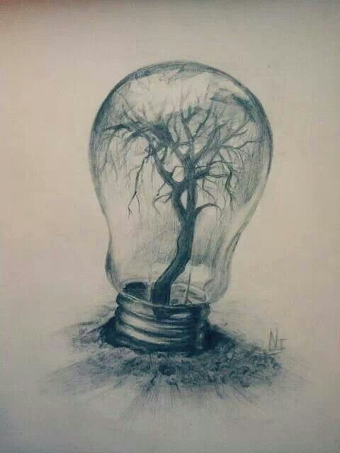 Surrealism. I love the idea of bringing up together the technology and how it has affected nature.I think this is what the author was trying to convey by putting a sad and dark tree inside the light bulb.