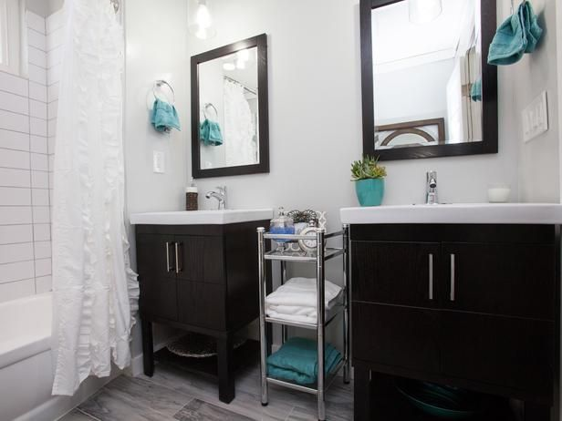 As seen on Flipping the Block...Black Team: Master Bathroom, After. The only bathroom with double vanities, this bright, modern bathroom now feels spacious. White tiles, a soft gray color palette and chrome accessories contribute to its airy feel.: Decor Ideas, Finish Bathroom, Full Bathroom, Double Vanities, Bathroom Pictures, Bathroom Married, Flip, Master Bathroom, Double Sinks