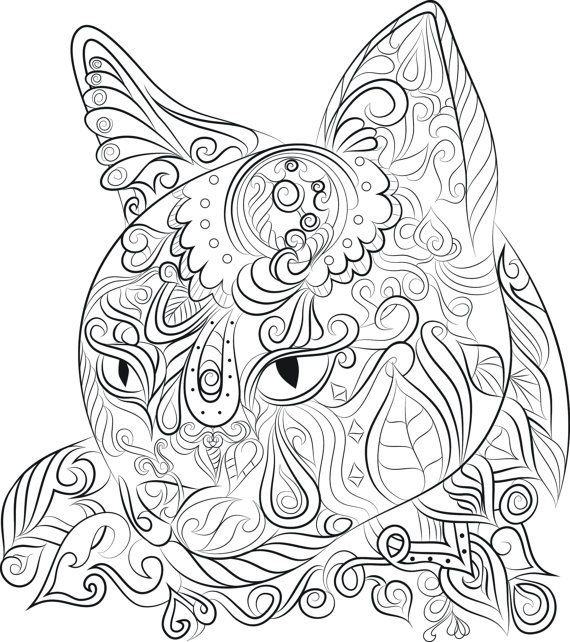 Cat Design Instant Download To Print And Colour