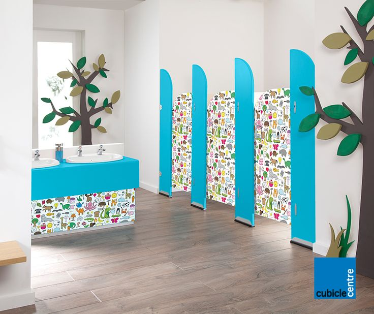 Nursery toilet cubicle designed for children with exclusive door patterns (Happy Everything) by Cubicle Centre