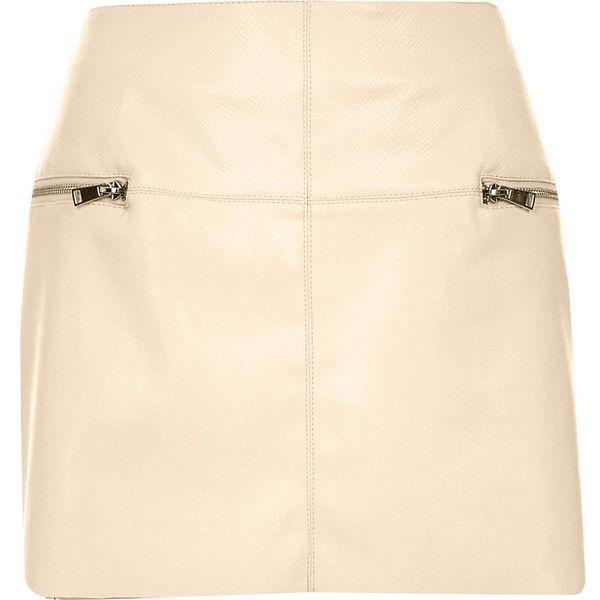 River Island Cream leather-look zip side pelmet skirt ($23 ...