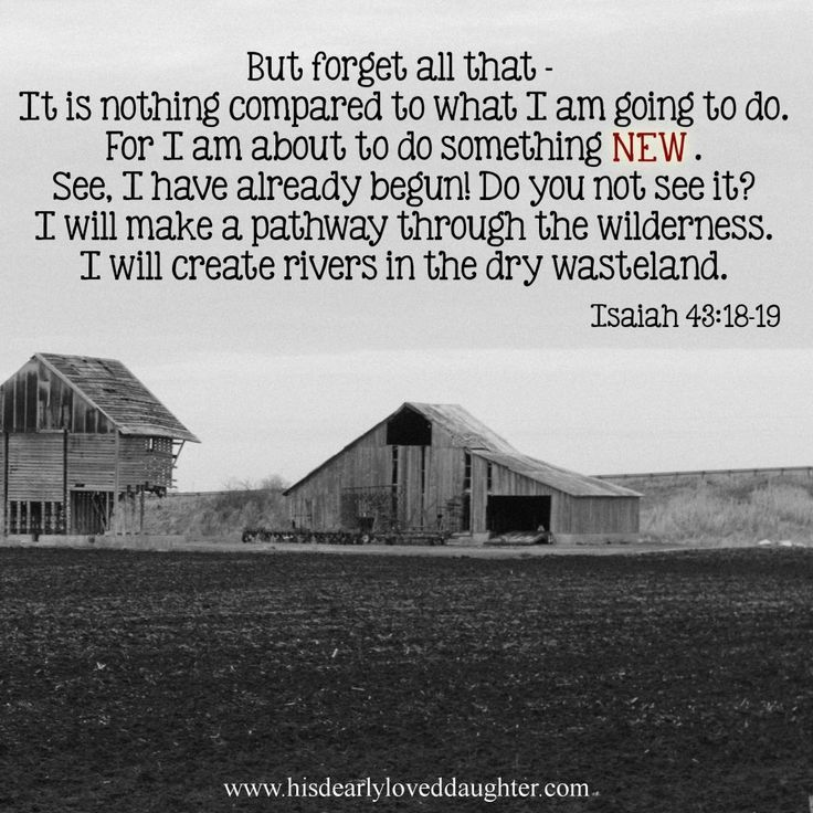 But forget all that - It is nothing compared to what I am going to do. For I am about to do something new. See, I have already begun! Do you not see it? I will make a pathway through the wilderness. I will create rivers in the dry wasteland. Isaiah 43:18-19 #Scripture #BibleVerse #verses #truth #WordOfGod