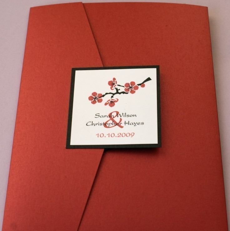 Red Cherry Blossom Pocketfold Wedding Invitation by