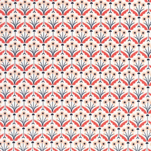 124605 Pretty Posies | Coral from Wildwood by Elizabeth Olwen for Cloud9 Fabrics