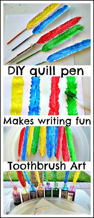 Toothbrush art project makes realistic paper feathers. Turn them into quill pens fora fun way to write, draw and create! #artactivities