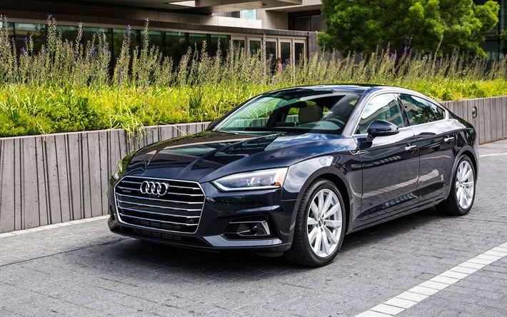 تحميل خلفيات أودي A5 Sportback, 2017 السيارات, الأسود a5, السيارات الألمانية, أودي