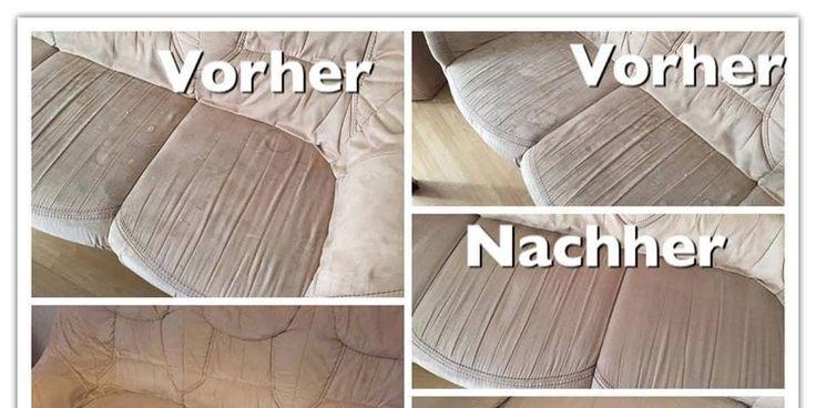 Haushaltsfee-Leserin berichtet: Ich hab die Microfaser-Couch mit Sidolin Fensterputzmittel eingesprüht, kurz einwirken lassen. Sofa ✓ Reinigen ✓