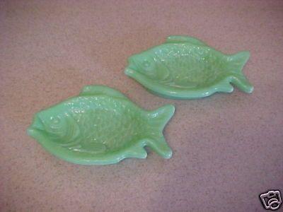 2 Jadite green Milk Glass Fish Side Dishes Mint Conditn