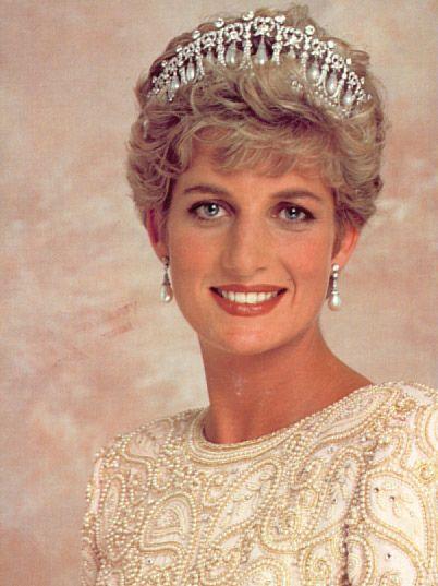 Princess Di wearing the   Cambridge lovers knot tiara.