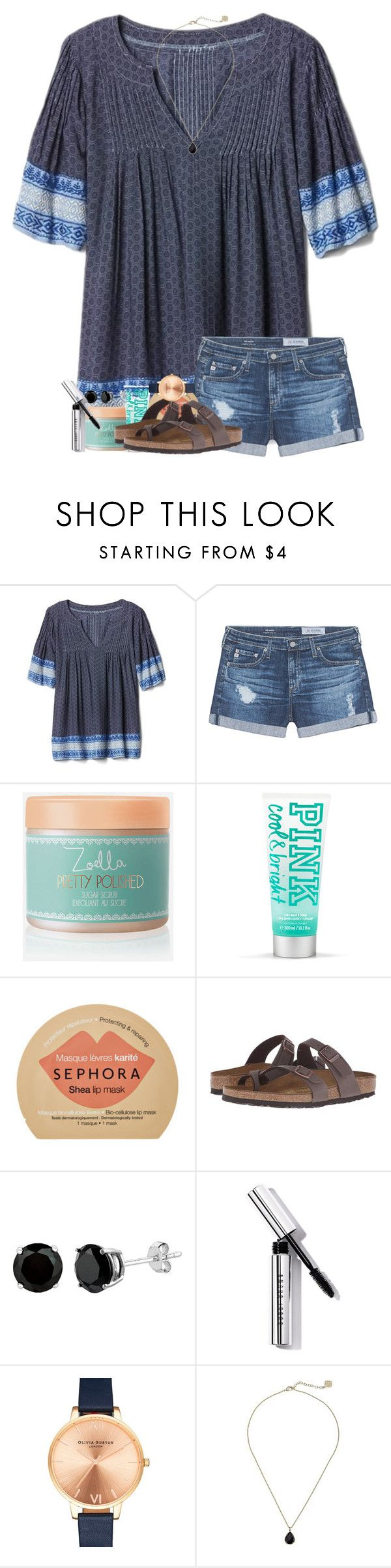 """""""baby we were made to last"""" by legitmaddywill ❤ liked on Polyvore featuring Gap, AG Adriano Goldschmied, Zoella Beauty, Sephora Collection, Birkenstock, Bobbi Brown Cosmetics, Olivia Burton and Kendra Scott"""