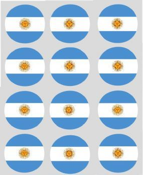 Argentinian Flag Cupcake Decoration Toppers (Argentina)