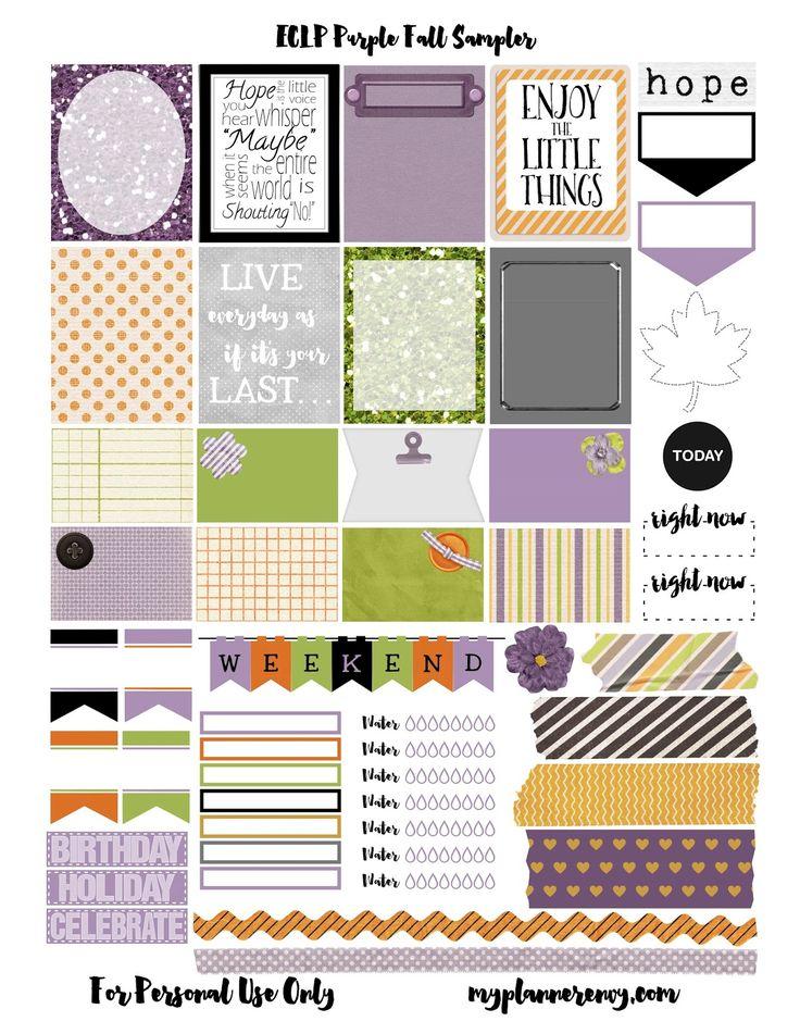 Free Printable Purple Fall Sampler for the Erin Condren Life Planner