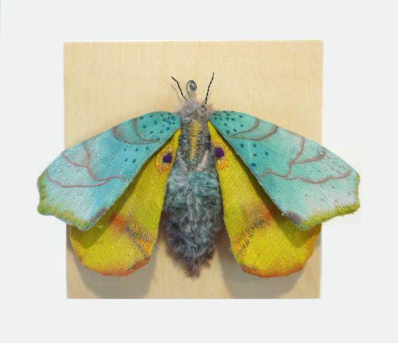Fabric sculpture -Blue Moth textile art