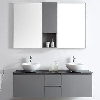 """Vinnova Ferrara 60"""" Double Vanity Set with Mirrors Base Finish: Gray"""
